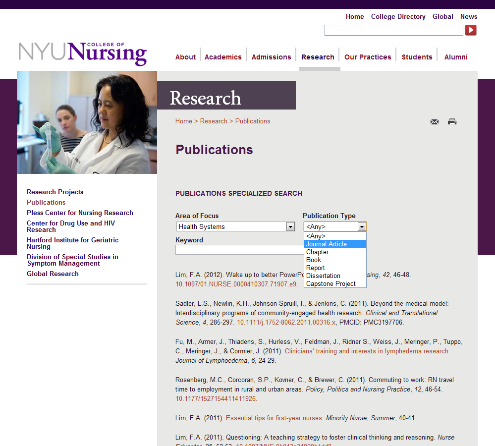 Drupal Consulting for the NYU College of Nursing | DPCI